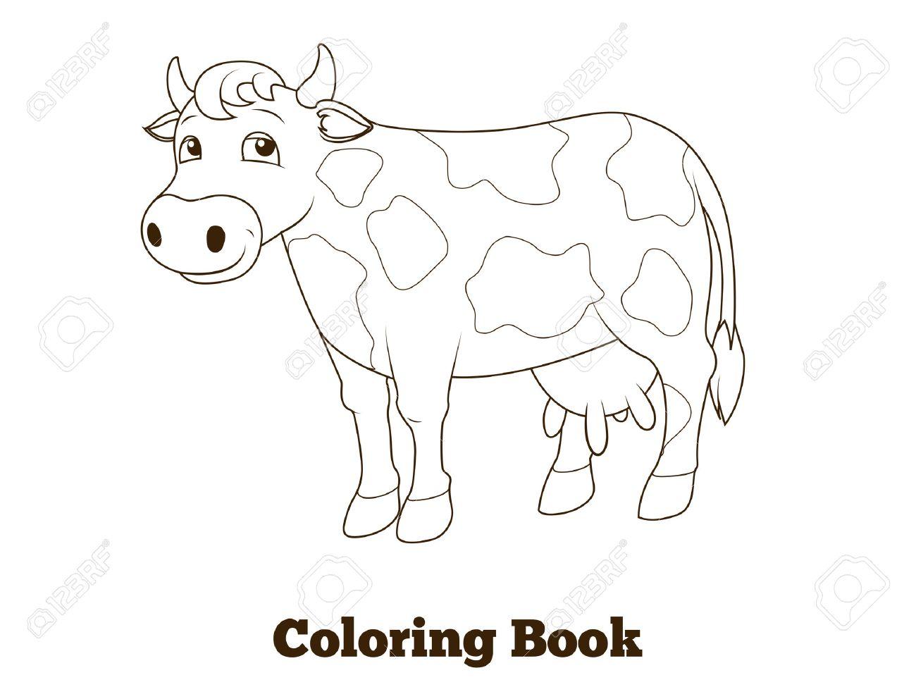 Coloring Book Cow Cartoon Educational Vector Illustration Royalty