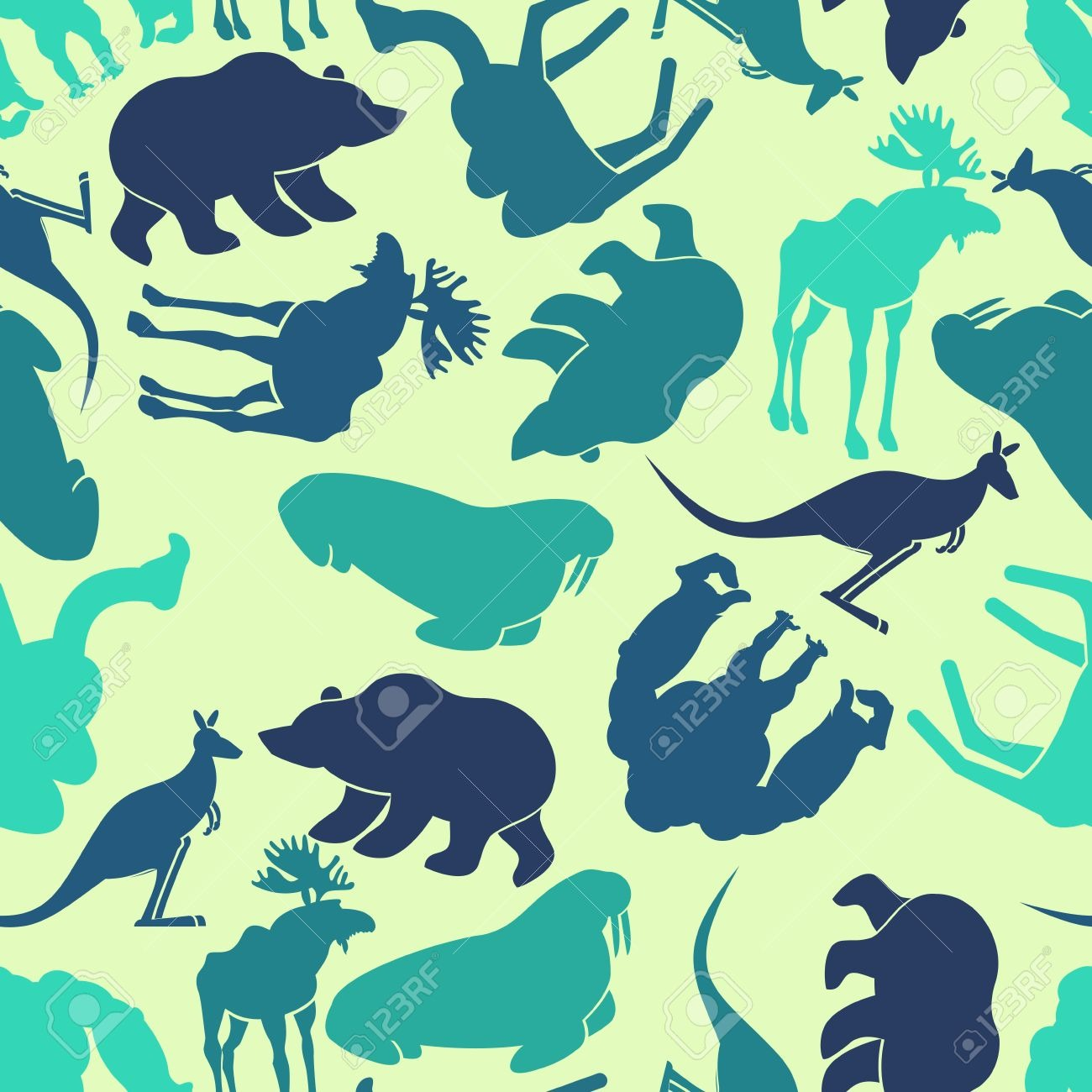 Animals Seamless Pattern  Zoo Background  Wild Animals Texture