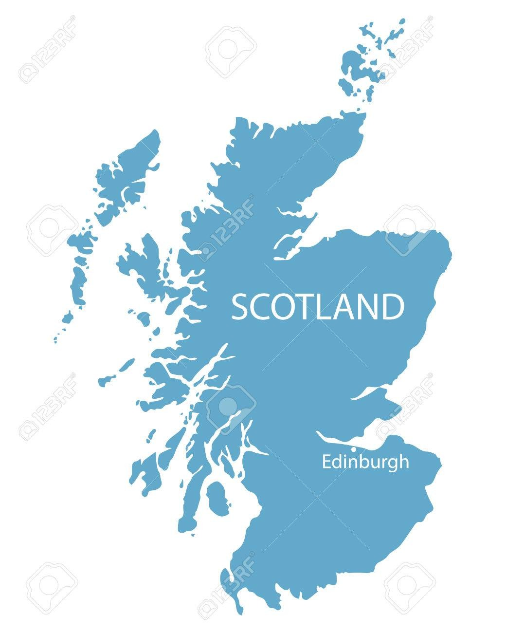 Blue Map Of Scotland With Indication Of Edinburgh Royalty Free
