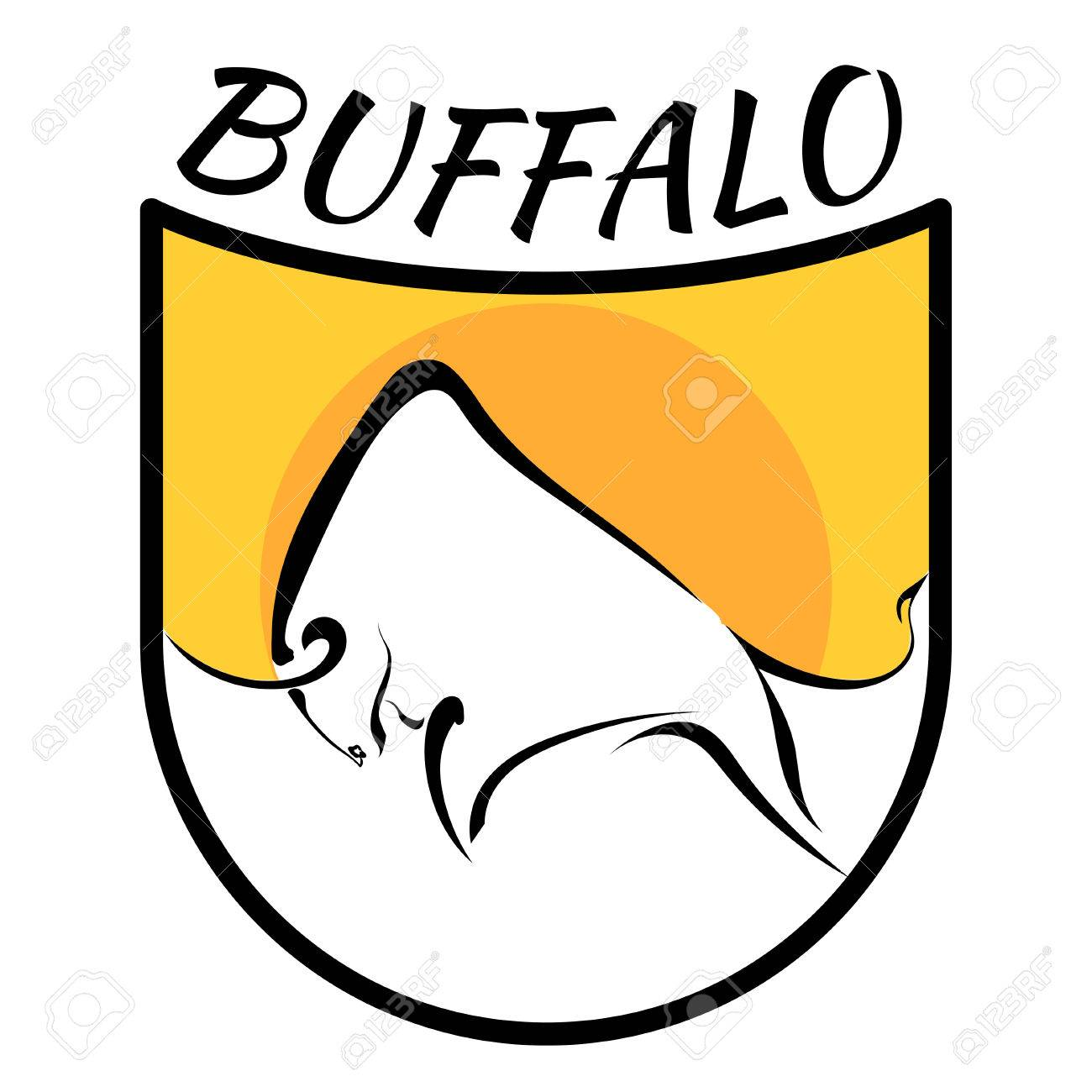 Buffalo Logo  Color Vector Image Of A Buffalo On A Yellow