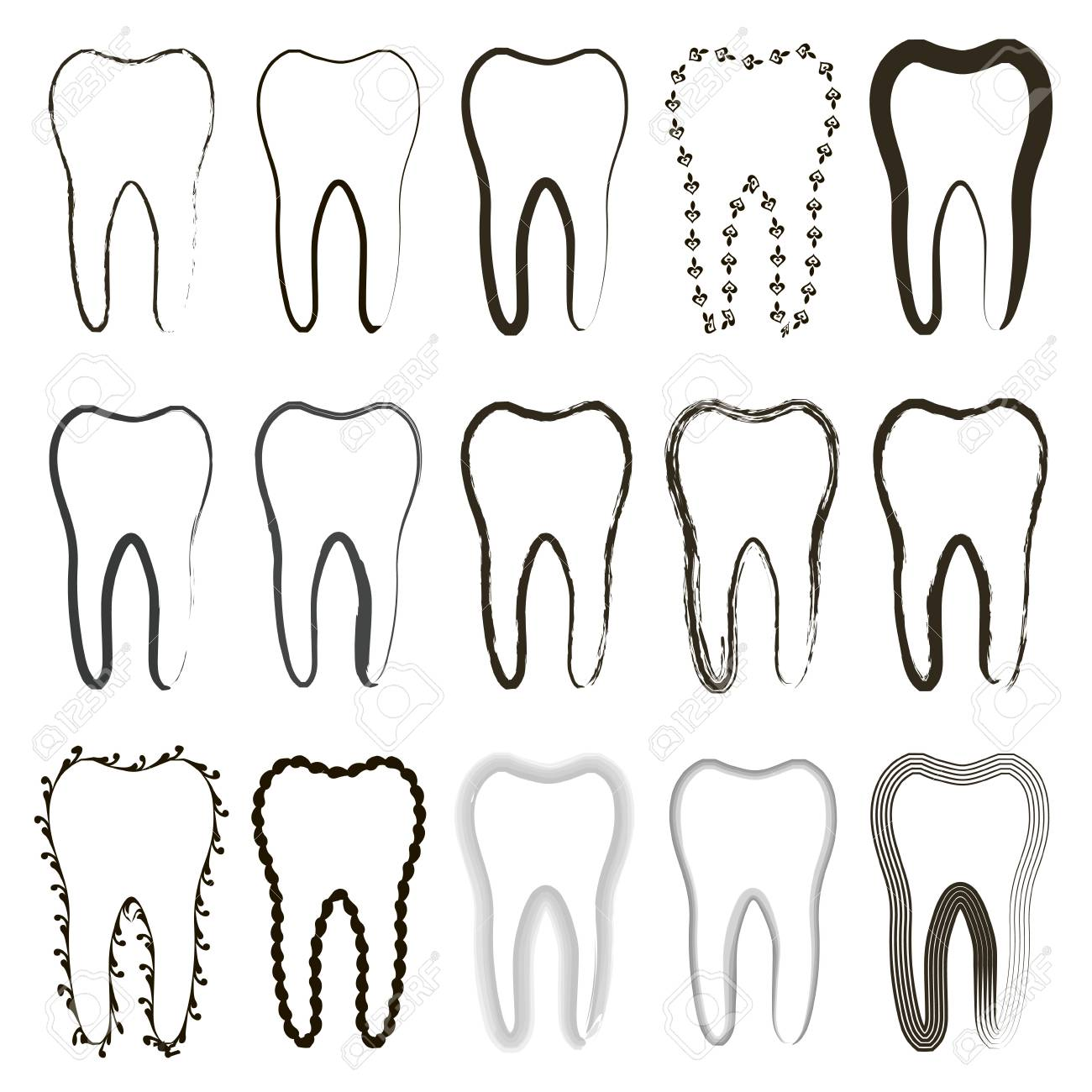 Set Of Icons Of Different Tooth Form, Contour And Patterns, The