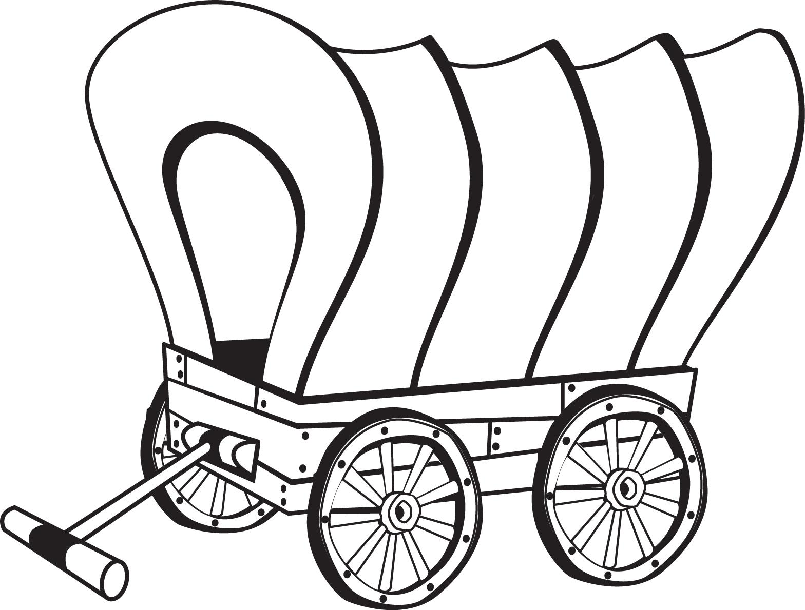 Pioneer Wagon Coloring Page, Pioneer Clip Art Black And White