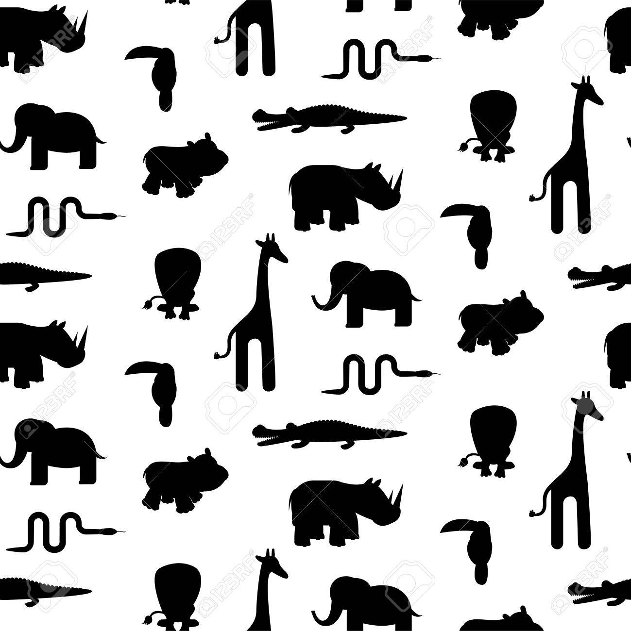 Zoo Animal Silhouettes Seamless Pattern Vector  Royalty Free