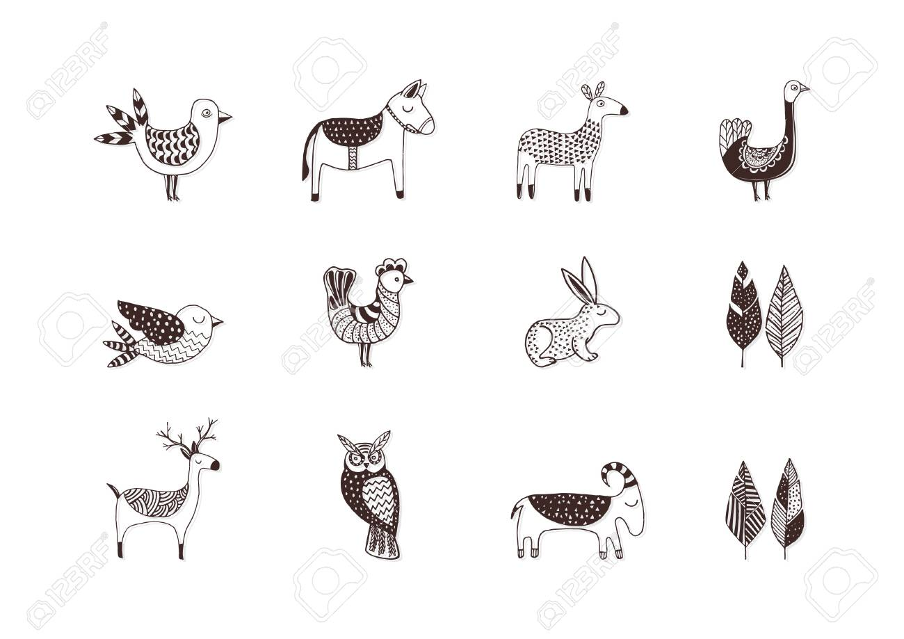 Collection Of Simple Animal Designs Royalty Free Cliparts, Vectors