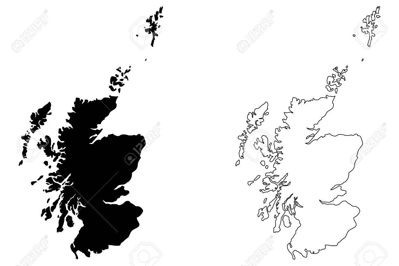 Scotland Map Vector Illustration, Scribble Sketch Scotland Map