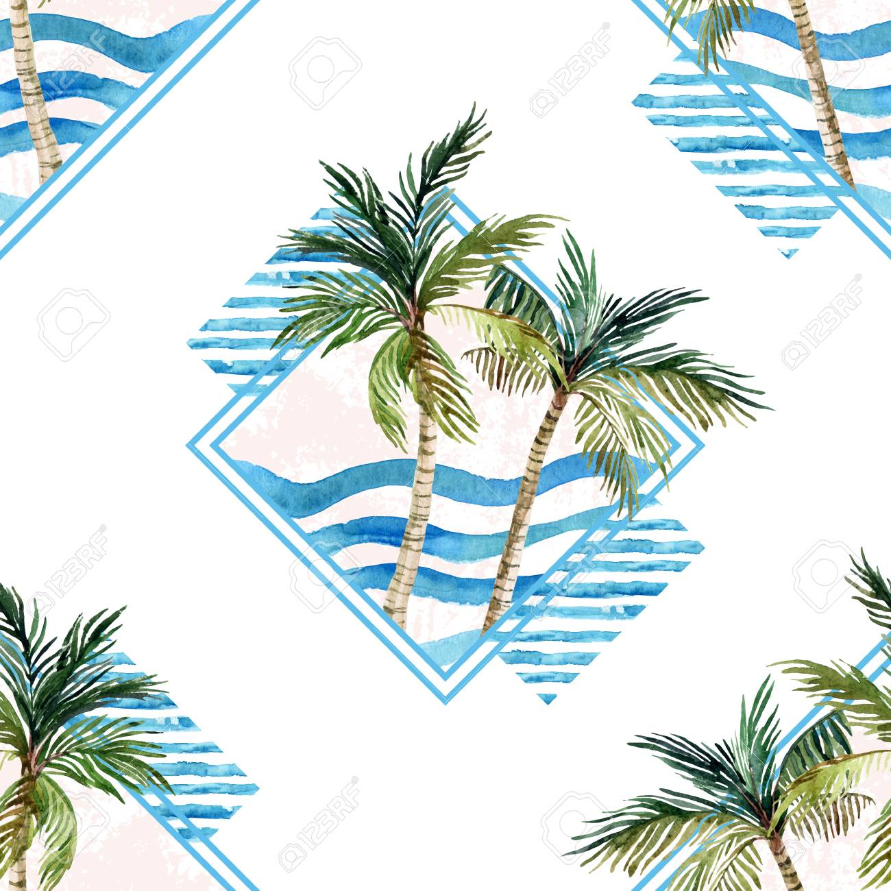 Watercolor Palm Tree Print In Geometric Shape On White Background