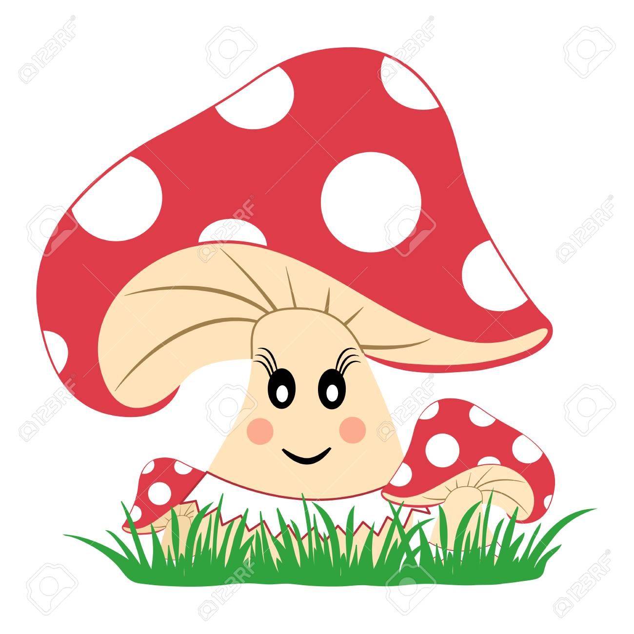 Colorful Mushrooms In The Grass  Mushroom With Emotion  Smiling