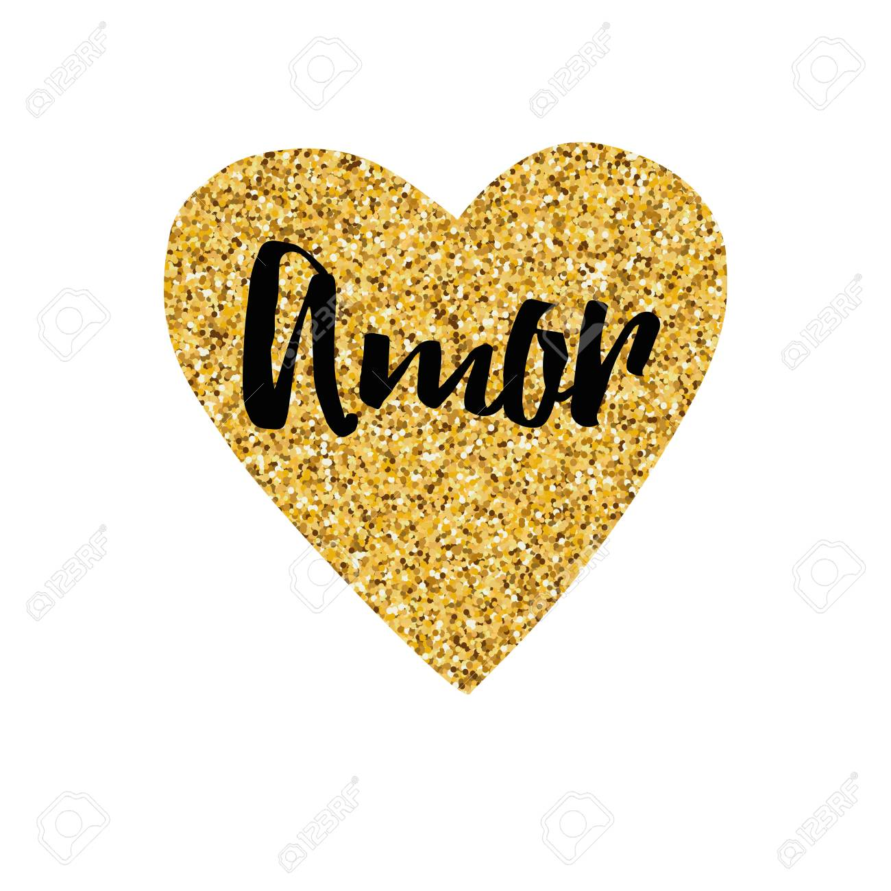 Hand Drawn Gold Sparkle Heart, Text Love Typography Print In