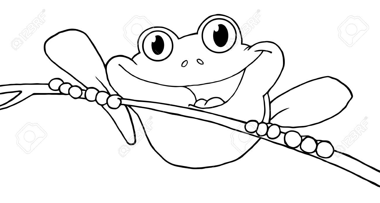 Outlined Happy Red Eyed Tree Frog Royalty Free Cliparts, Vectors