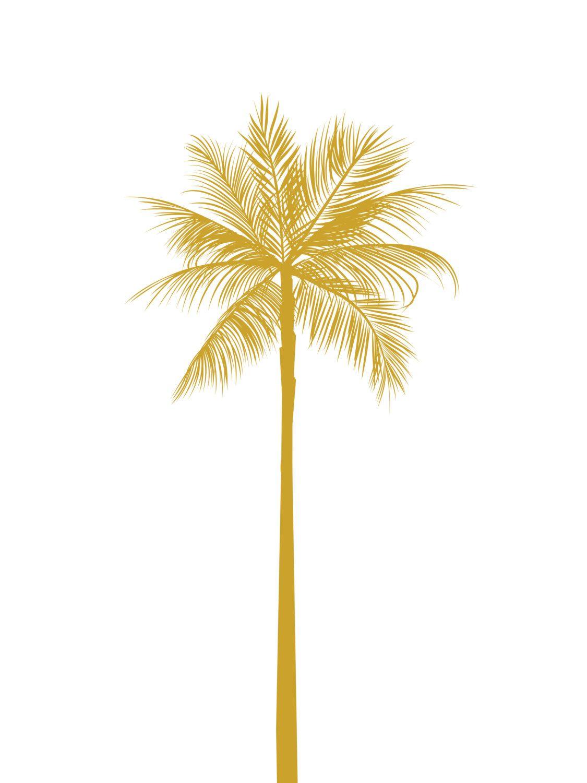 Gold Palm Tree Print, California Palm Tree, Mustard Yellow Palm