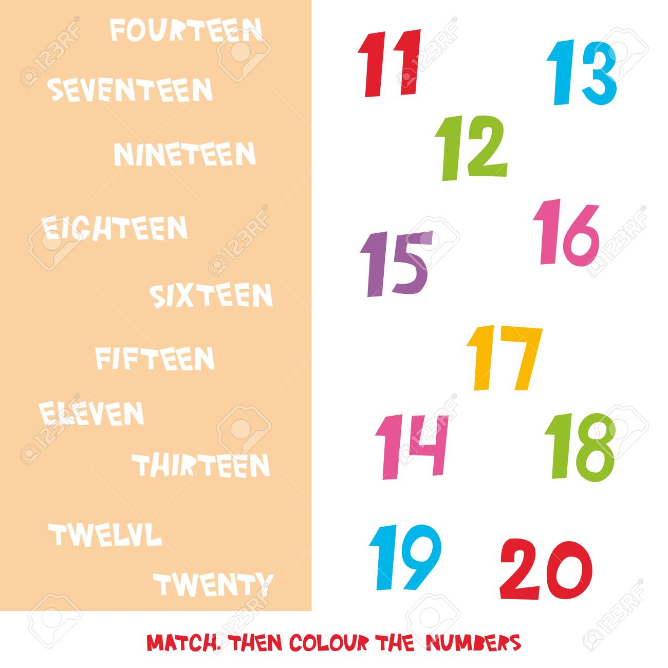 Match Then Colour The Numbers 11 To 20  Kids Words Learning Game