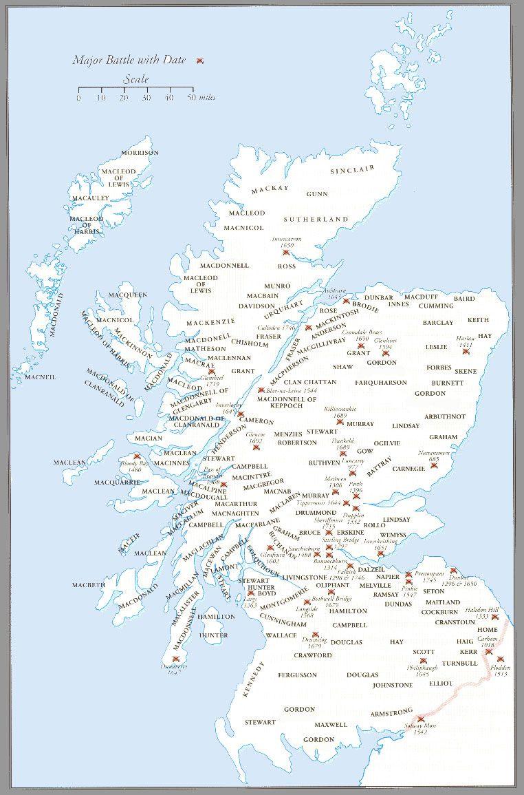 Clan Map Of Scotland