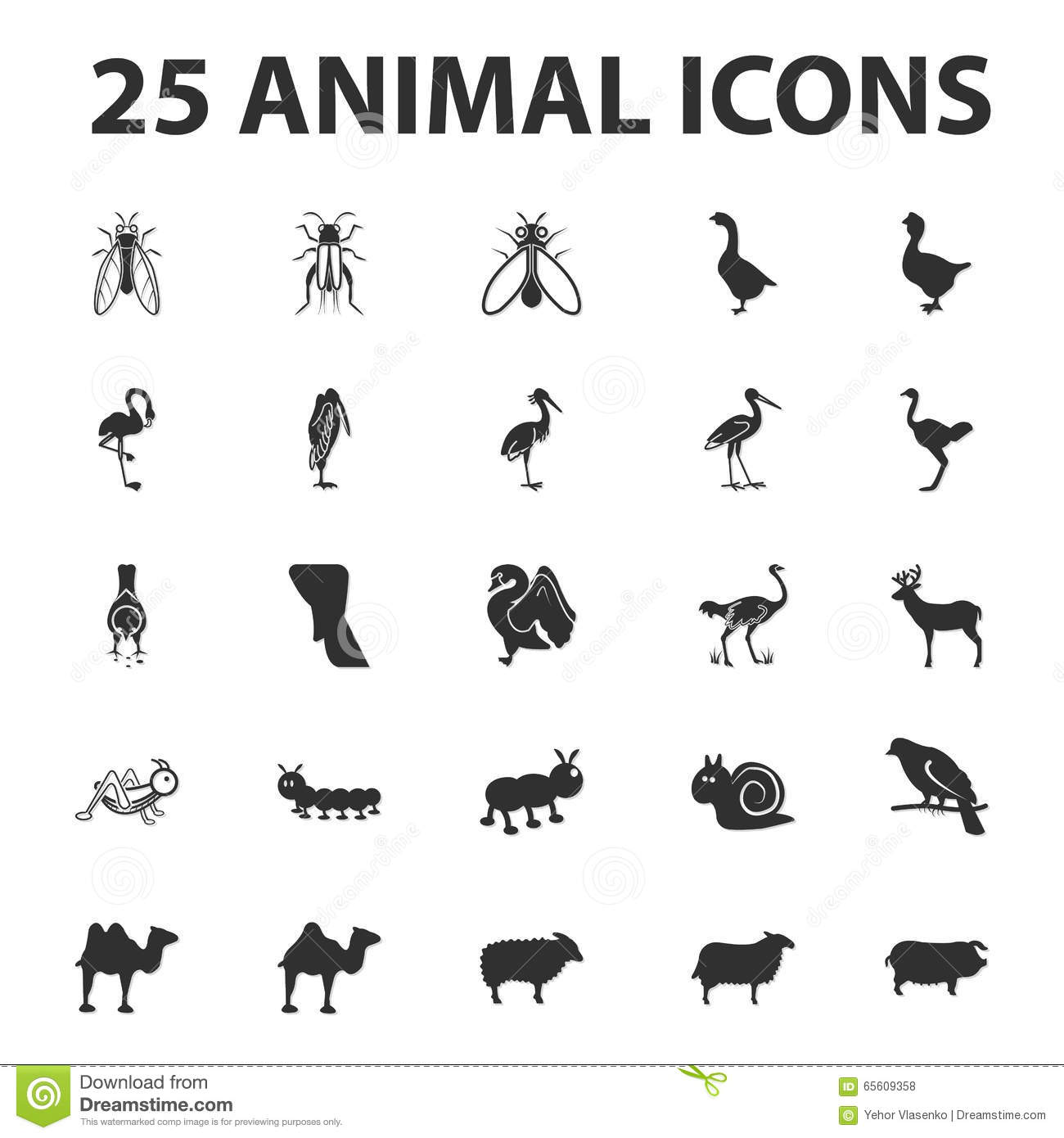 Animal And Beast 25 Black Simple Icons Set For Web Stock Vector