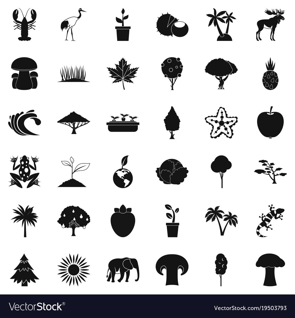 Animal Icons Set Simple Style Royalty Free Vector Image