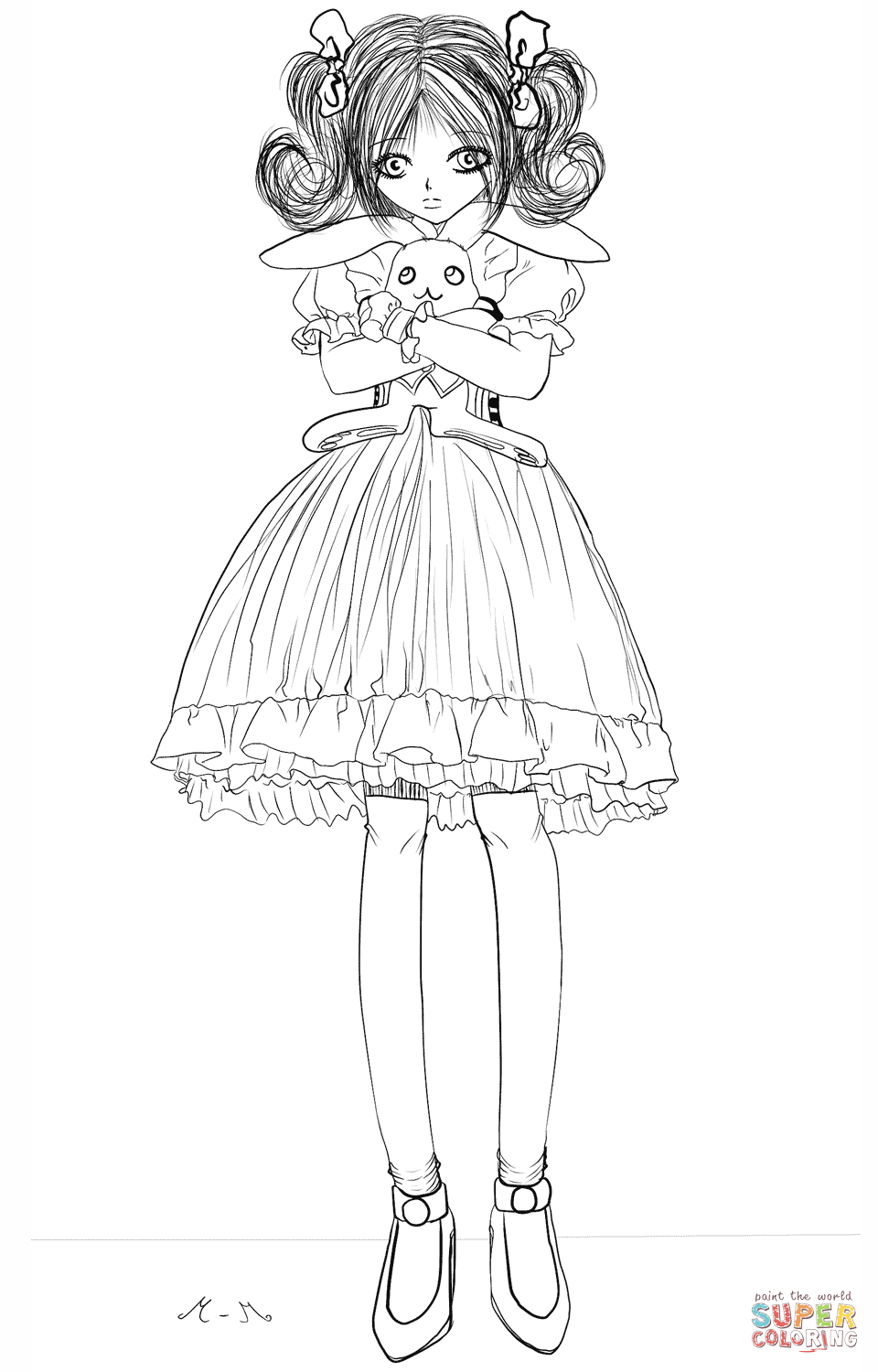 Anime Girl With Stuffed Bunny By Gabriela Gogonea Coloring Page