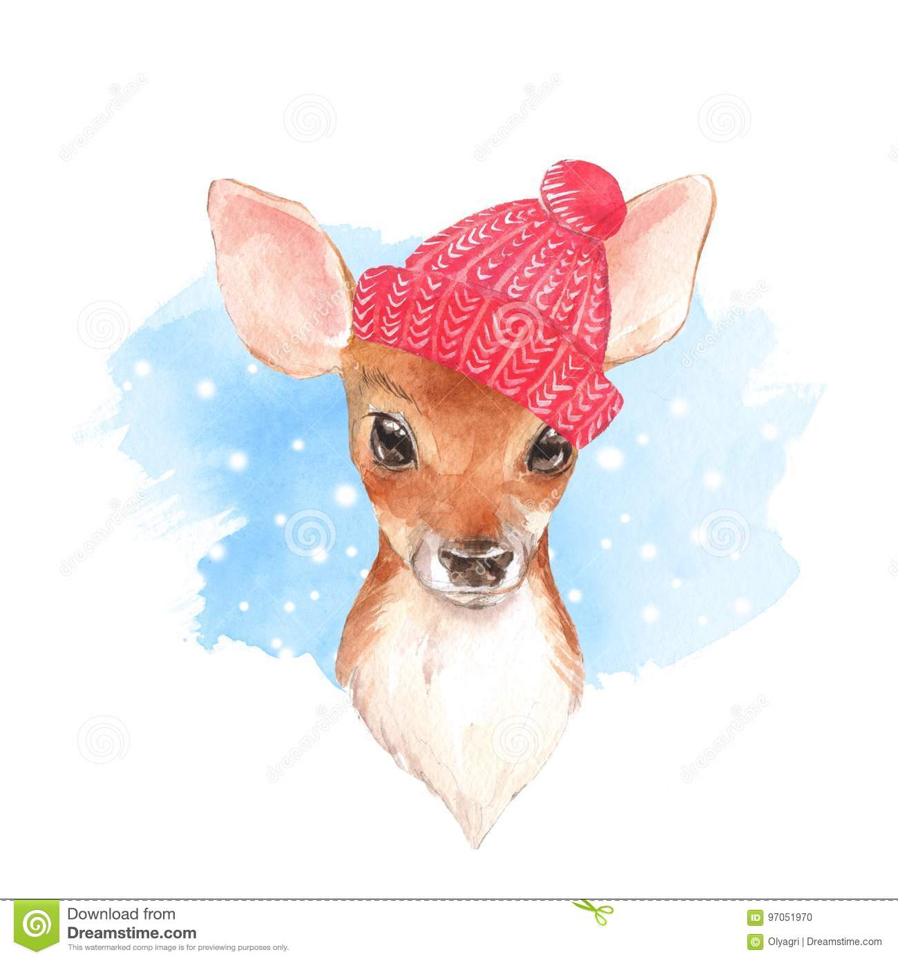 Baby Deer, Hat  Hand Drawn Cute Fawn  Watercolor Illustration