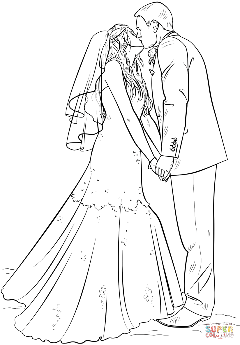 Bride And Groom Coloring Page