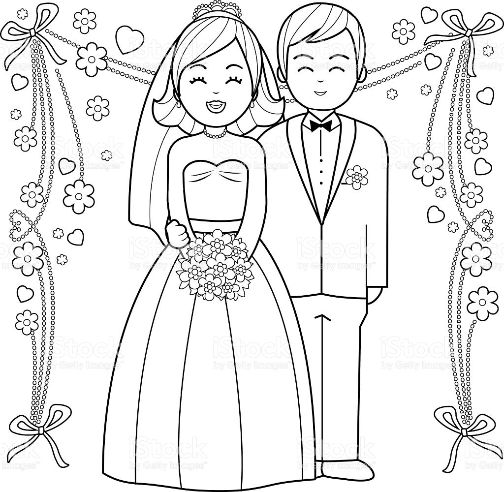 Bride And Groom Coloring Pages 25 With Bride And Groom Coloring