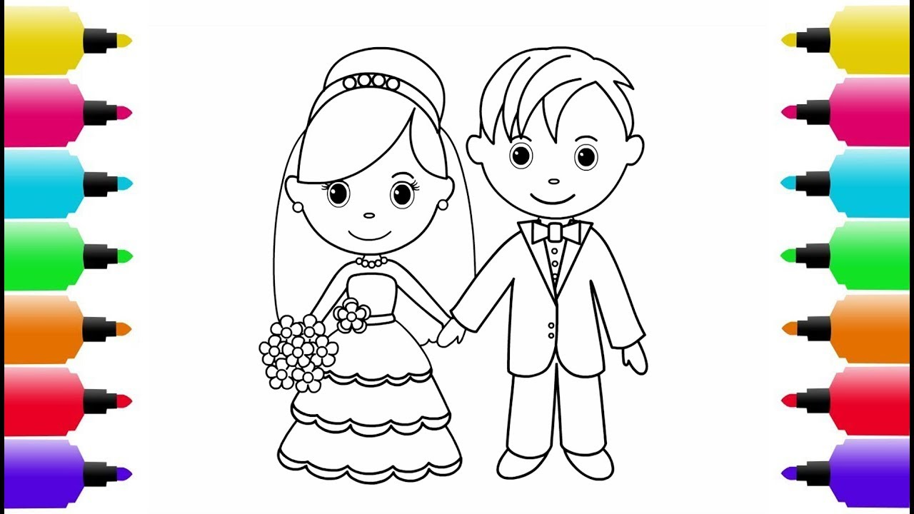 Bride And Groom Coloring Pages 63 With Bride And Groom Coloring