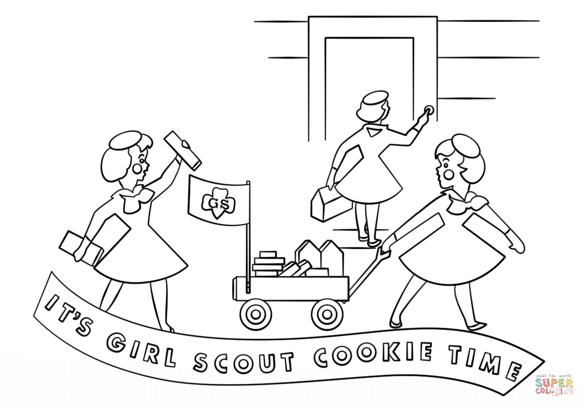 Brownie Girls Selling Cookies With Wagon Coloring Page