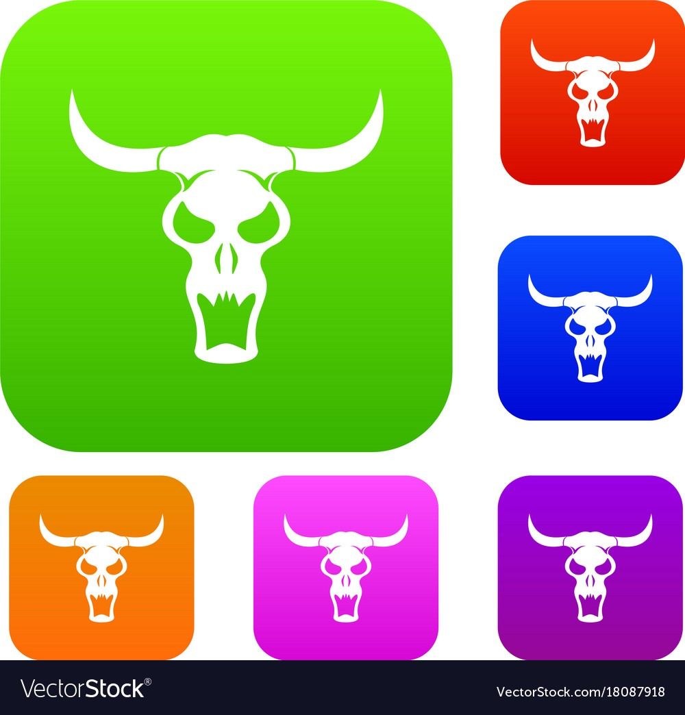 Buffalo Skull Set Color Collection Royalty Free Vector Image