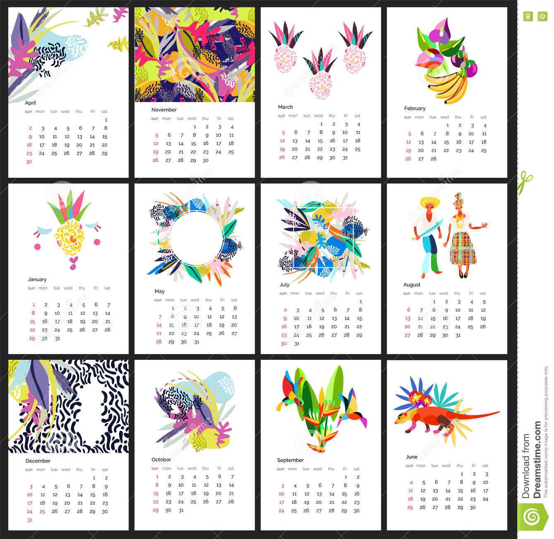Calendar 2017 Year Simple Animal Style Stock Vector