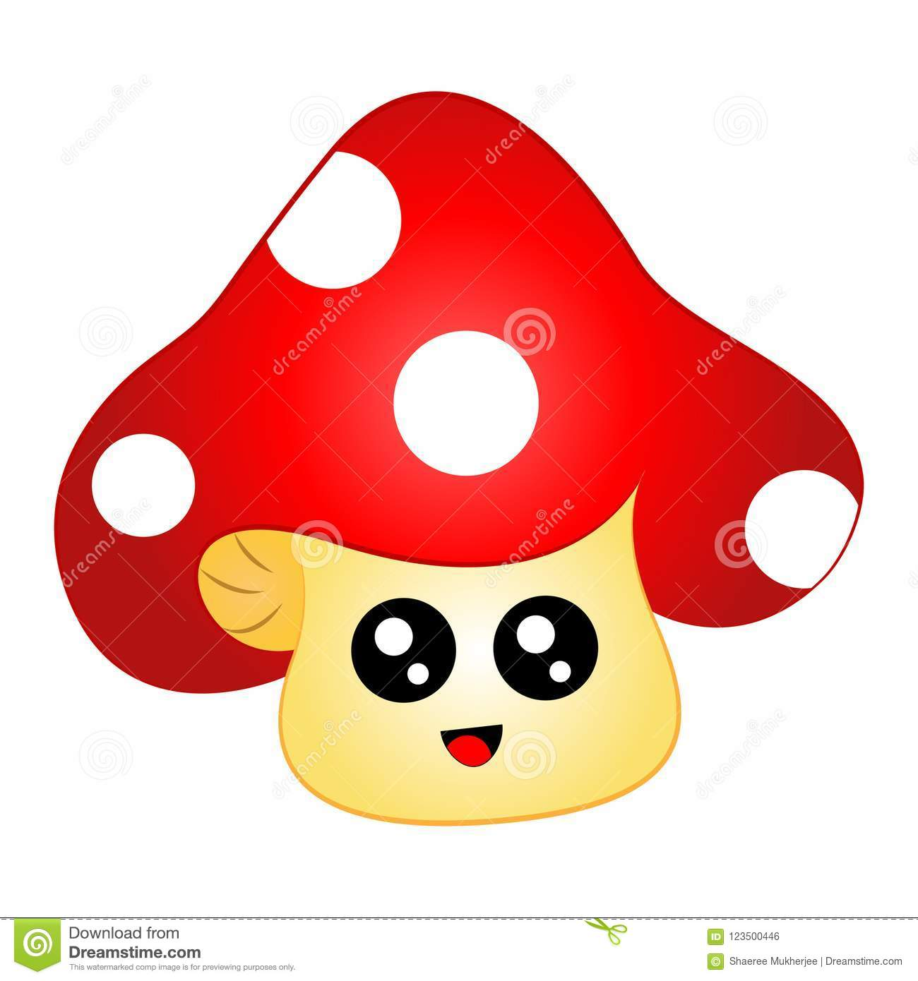 Cartoon Chibi Mushroom With Face Stock Vector