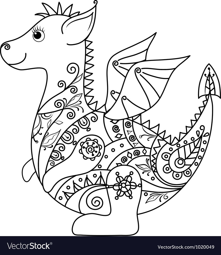 Cartoon Dragon Outline Royalty Free Vector Image