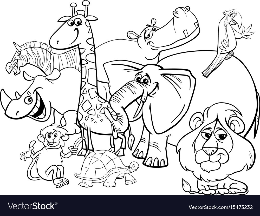 Cartoon Safari Animals Coloring Page Royalty Free Vector
