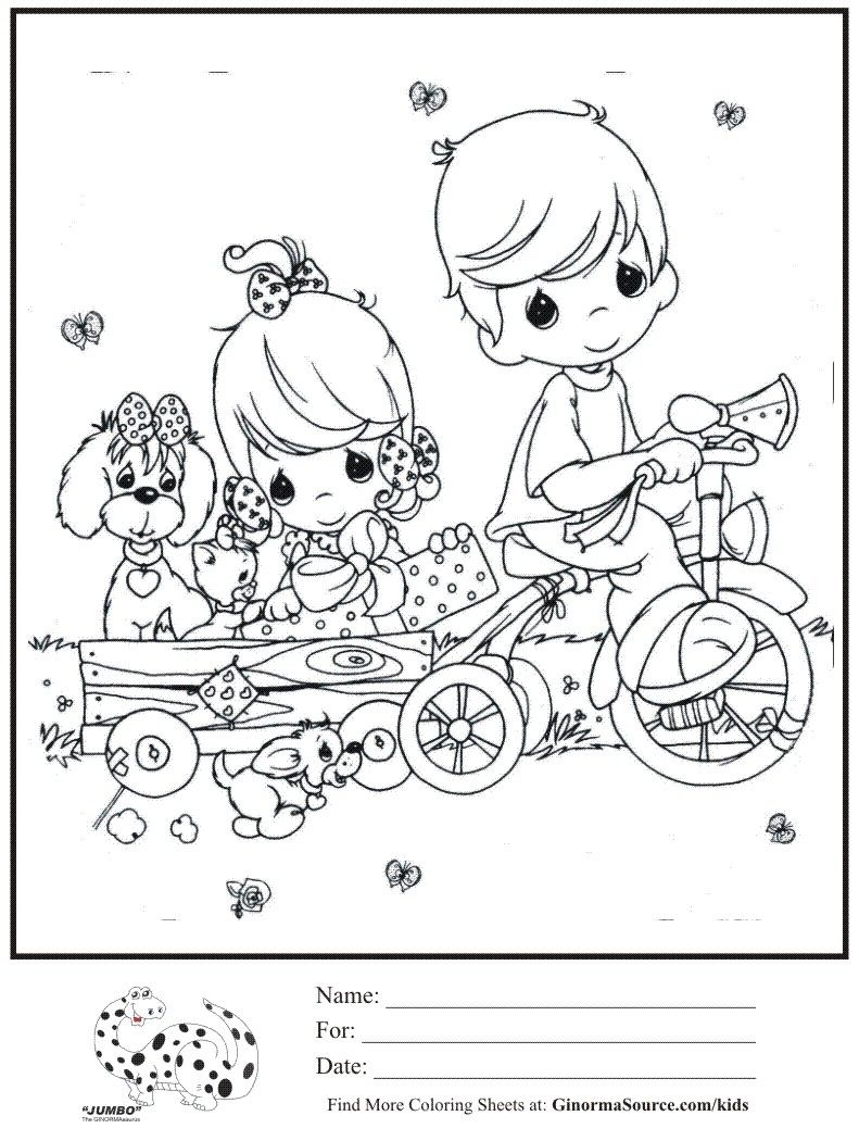 Kids Coloring Page Boy Girl Trike Pulling Wagon Coloring Sheet