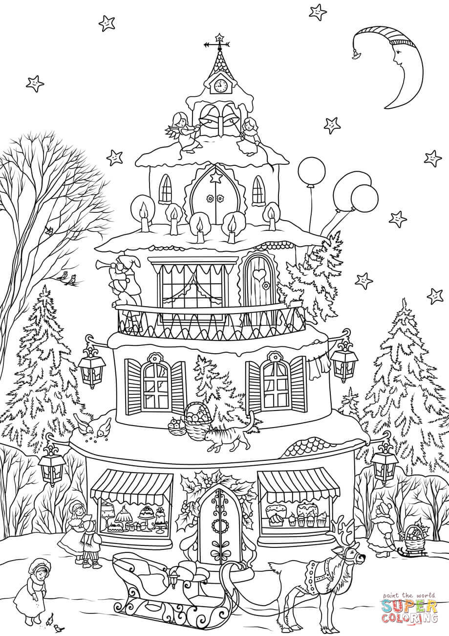 Christmas House Coloring Page