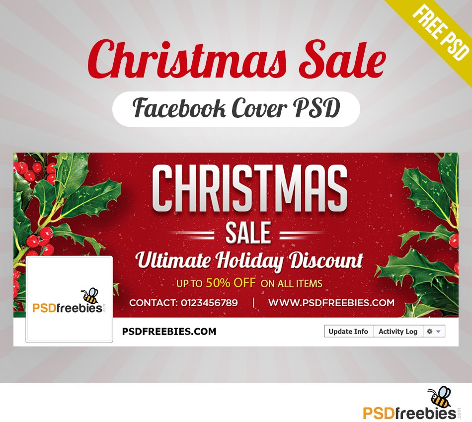 Download Christmas Sale Facebook Cover Psd Freebie For Free