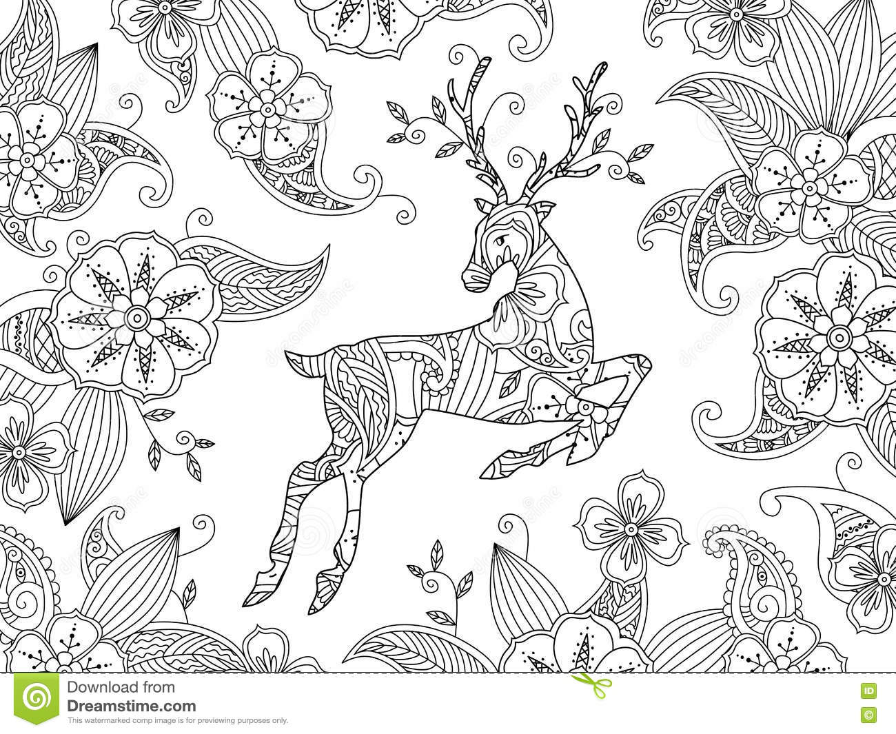 Coloring Page With Running Deer And Floral Background  Horizontal