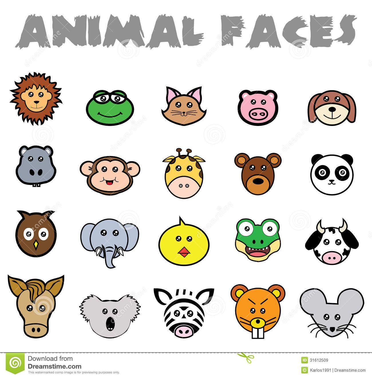Simple Animal Face Drawing Donkey