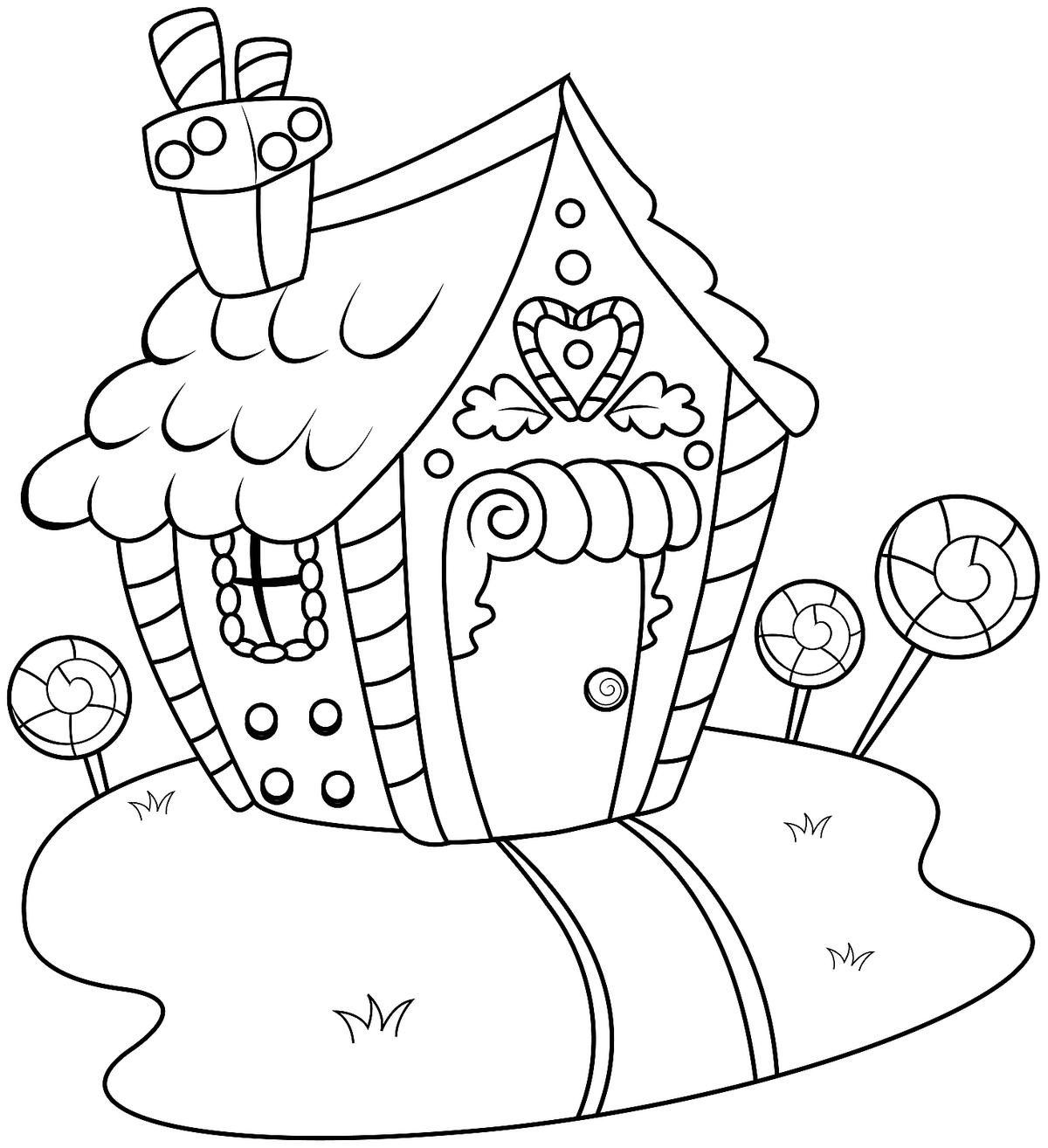 Daring House Coloring Pages To Print Gingerbread Printable
