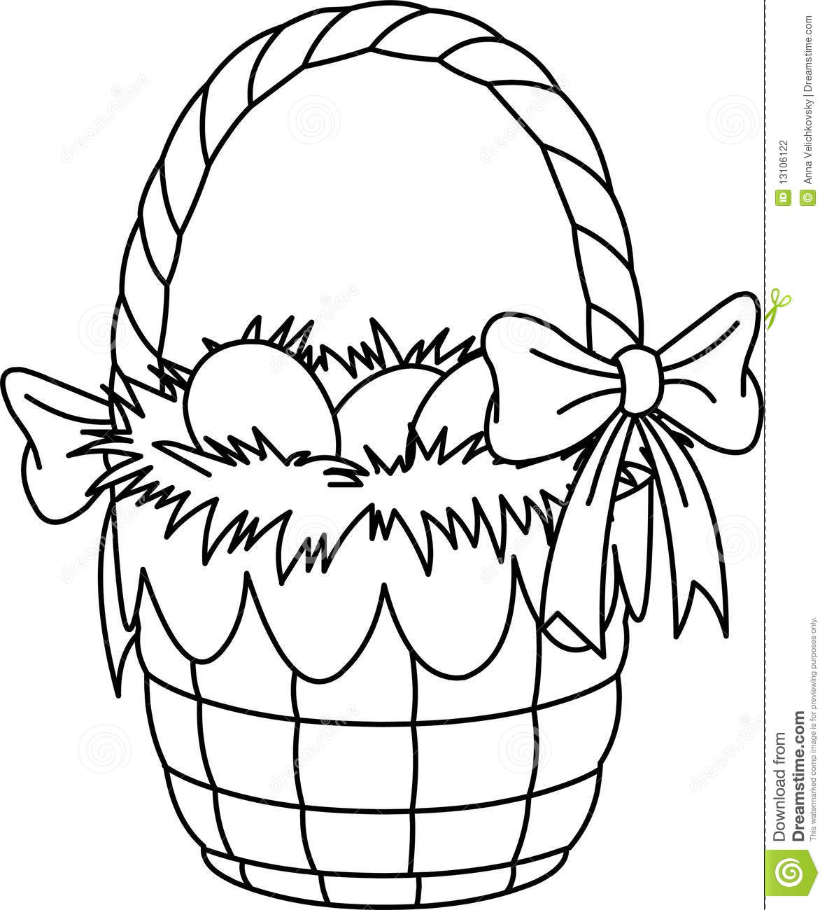 Easter Basket Coloring Page Stock Illustration