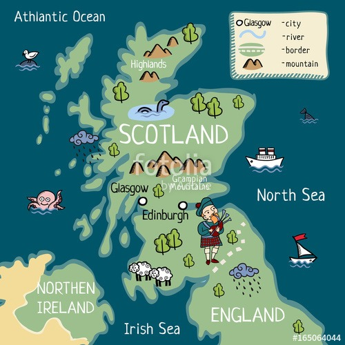 Exciting Map Of Scotland For Children Printable For Snazzy Collins