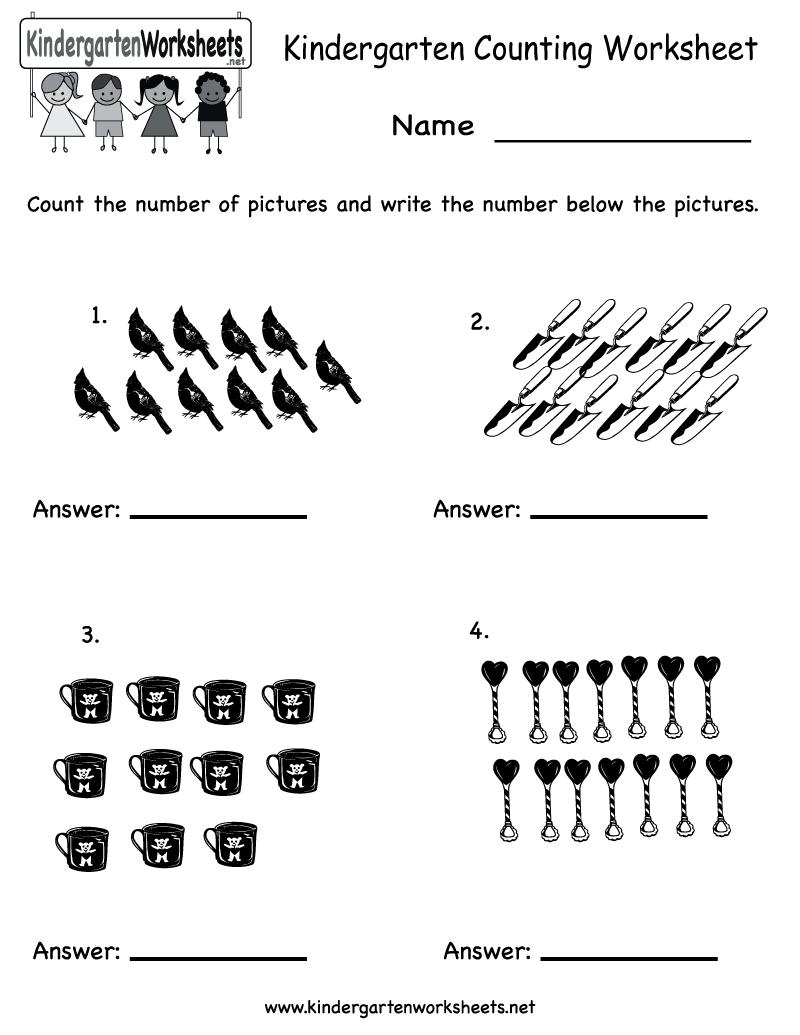 Free Printable Kindergarten Worksheets Counting Worksheets For All