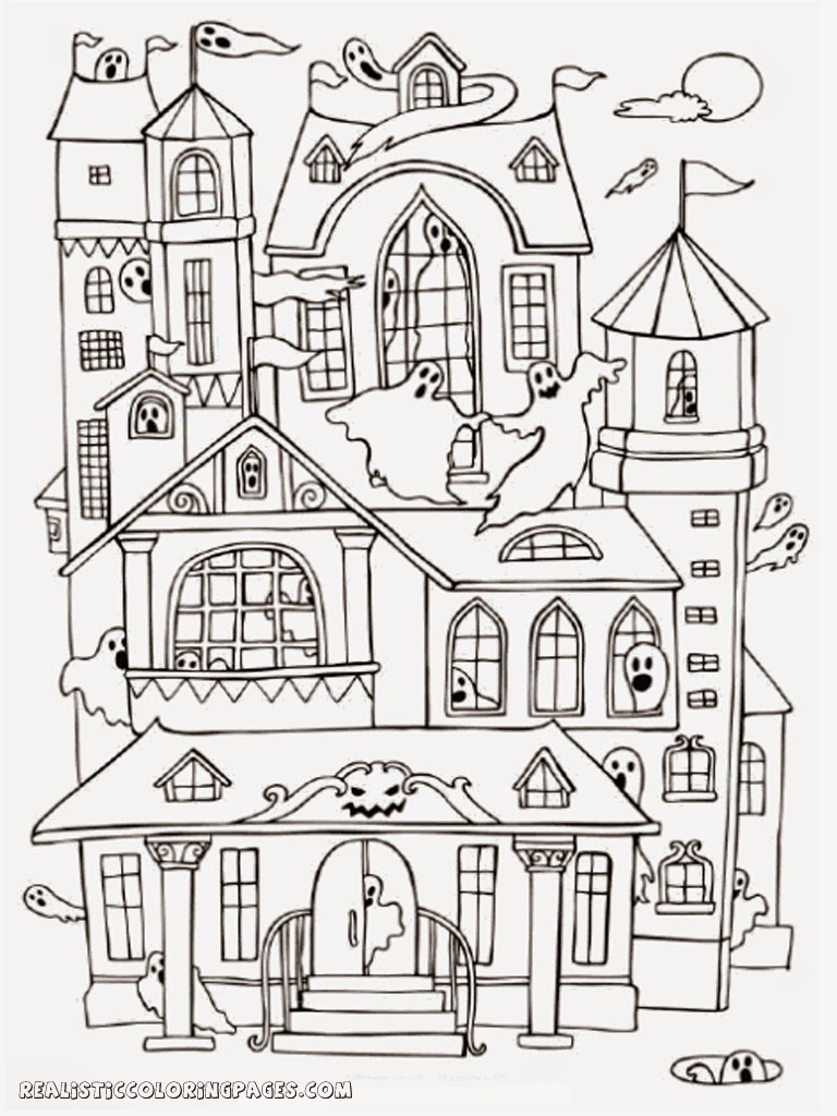 Halloween Haunted House Coloring Pages Realistic, Haunted House