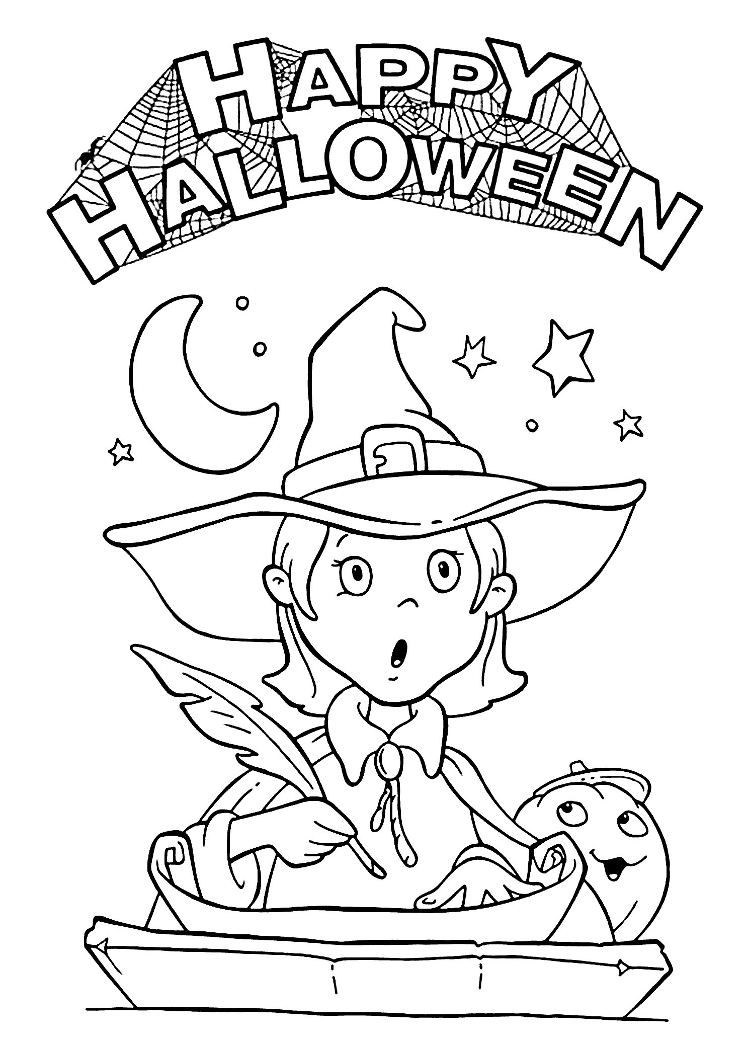 Halloween Witches Coloring Pages Happy And Pretty Witch Page For