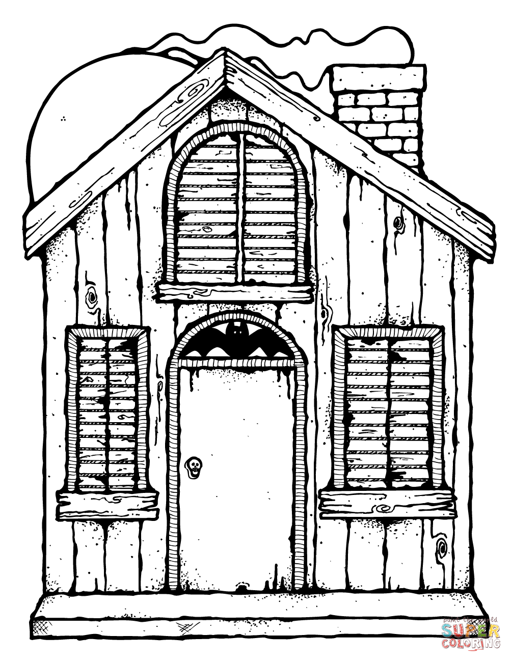 Haunted House Coloring Page Free Printable Coloring Pages, Huanted