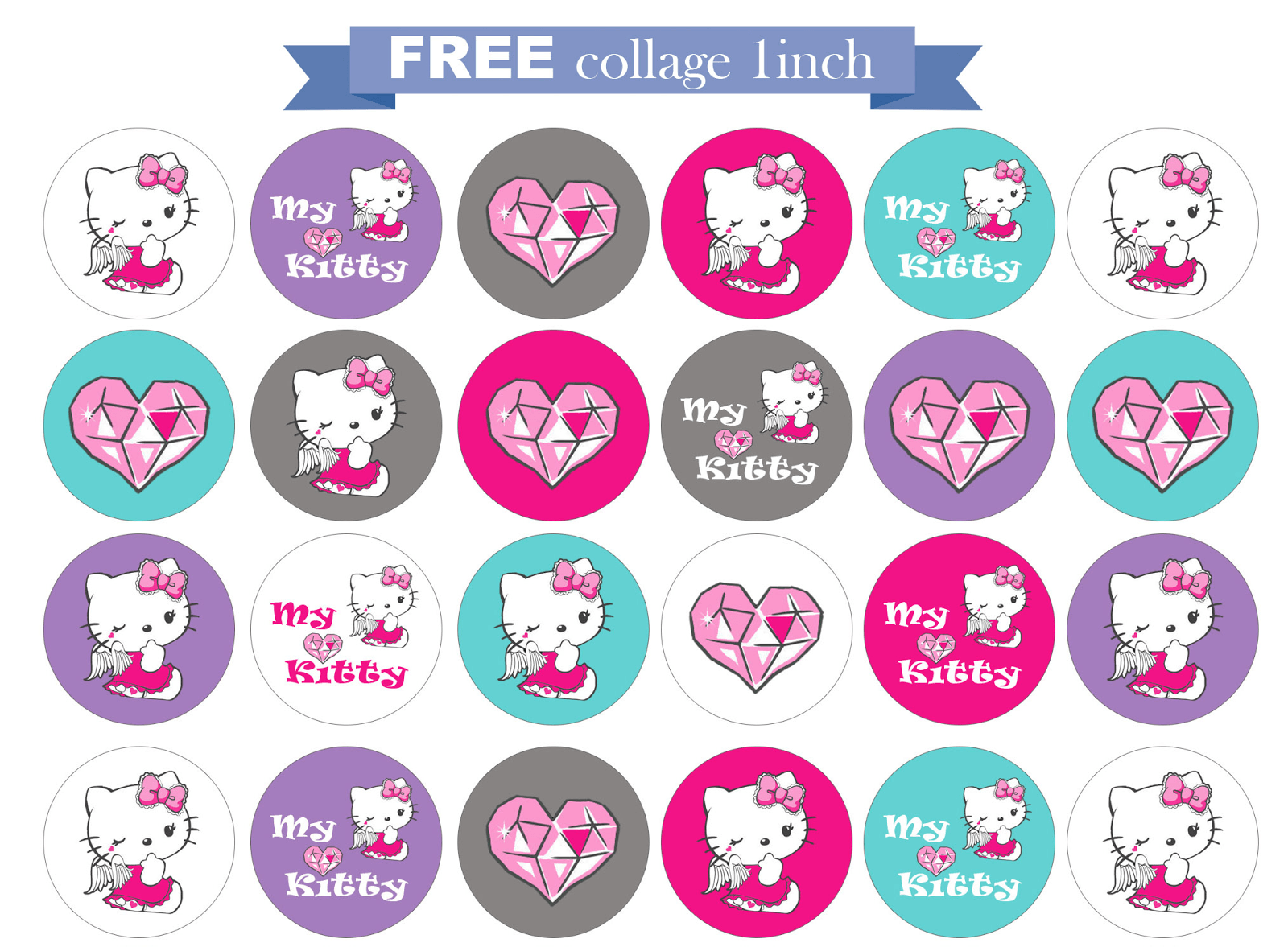 Free Printable Invitation  Hello Kitty Free Round 1 Inch