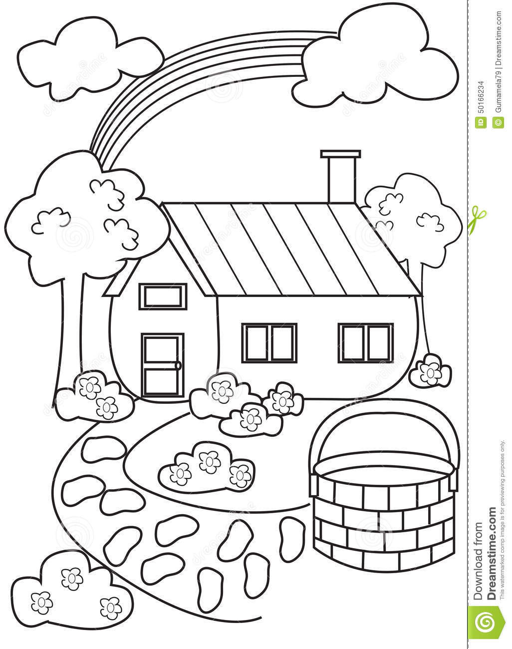 House Coloring Page Illustration 50166234