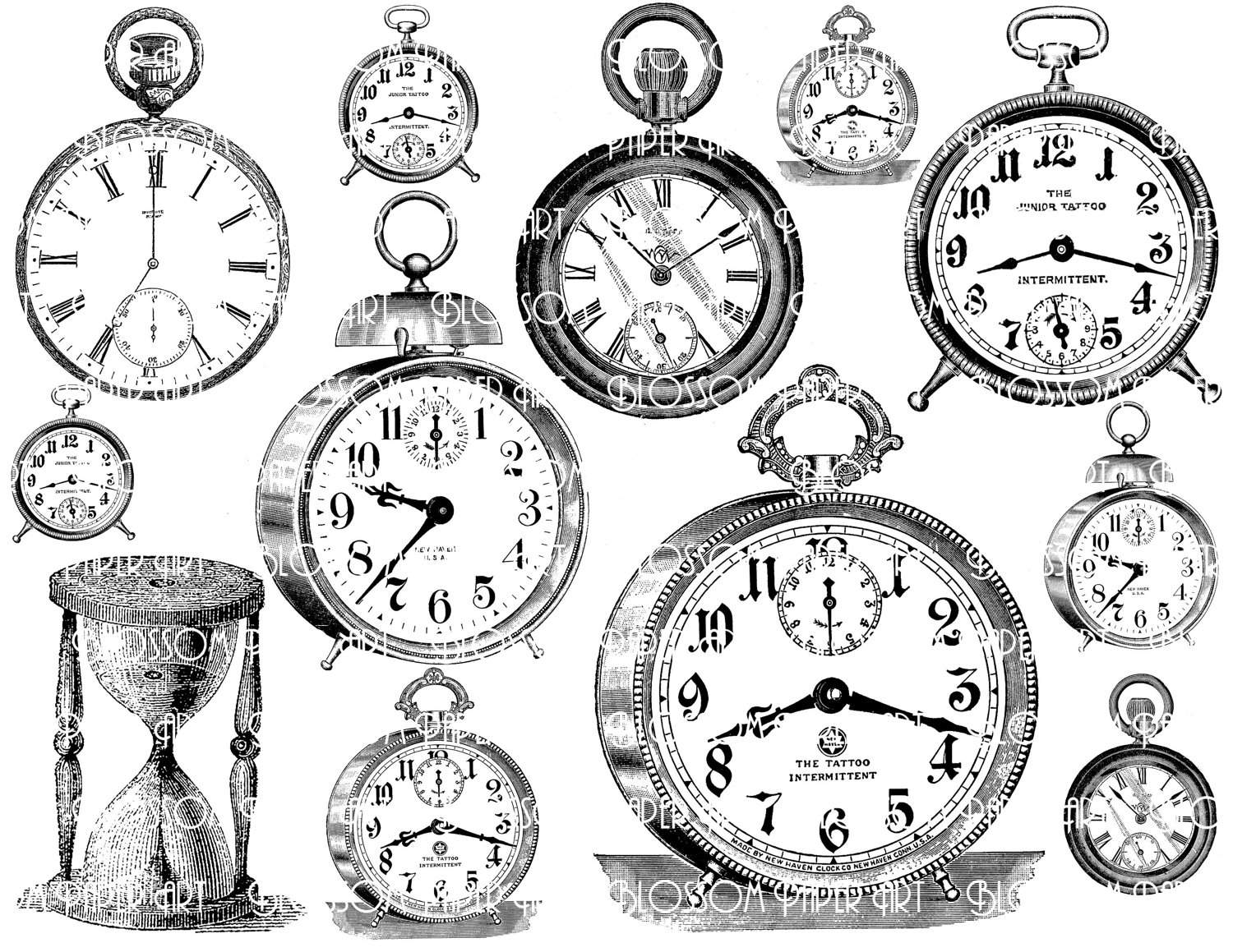 Clocks Collage Sheet Digital Scrapbook Scrapbooking