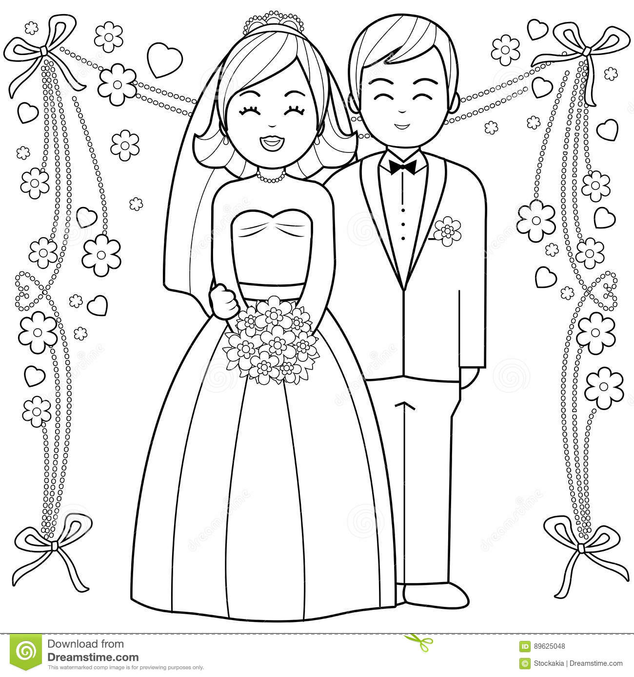 Important Bride And Groom Coloring Pages Book Page Stock Vector