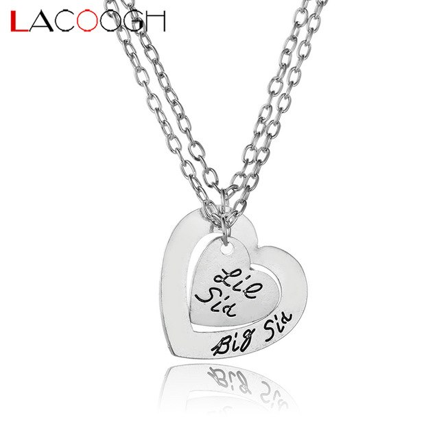 Lacoogh 2017 New Trendy Love Heart Pendants Necklaces Letter Print