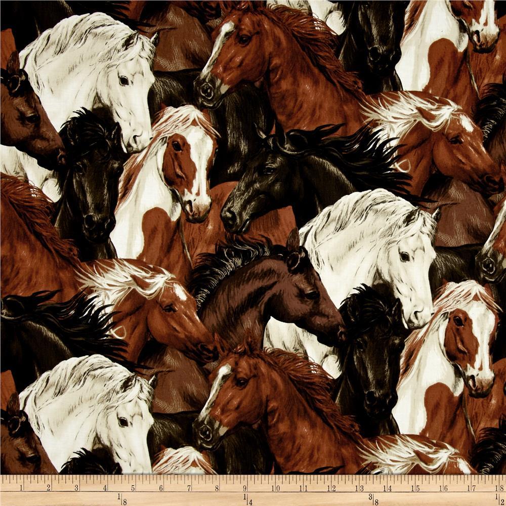 Run Free Stacked Horses Ecru
