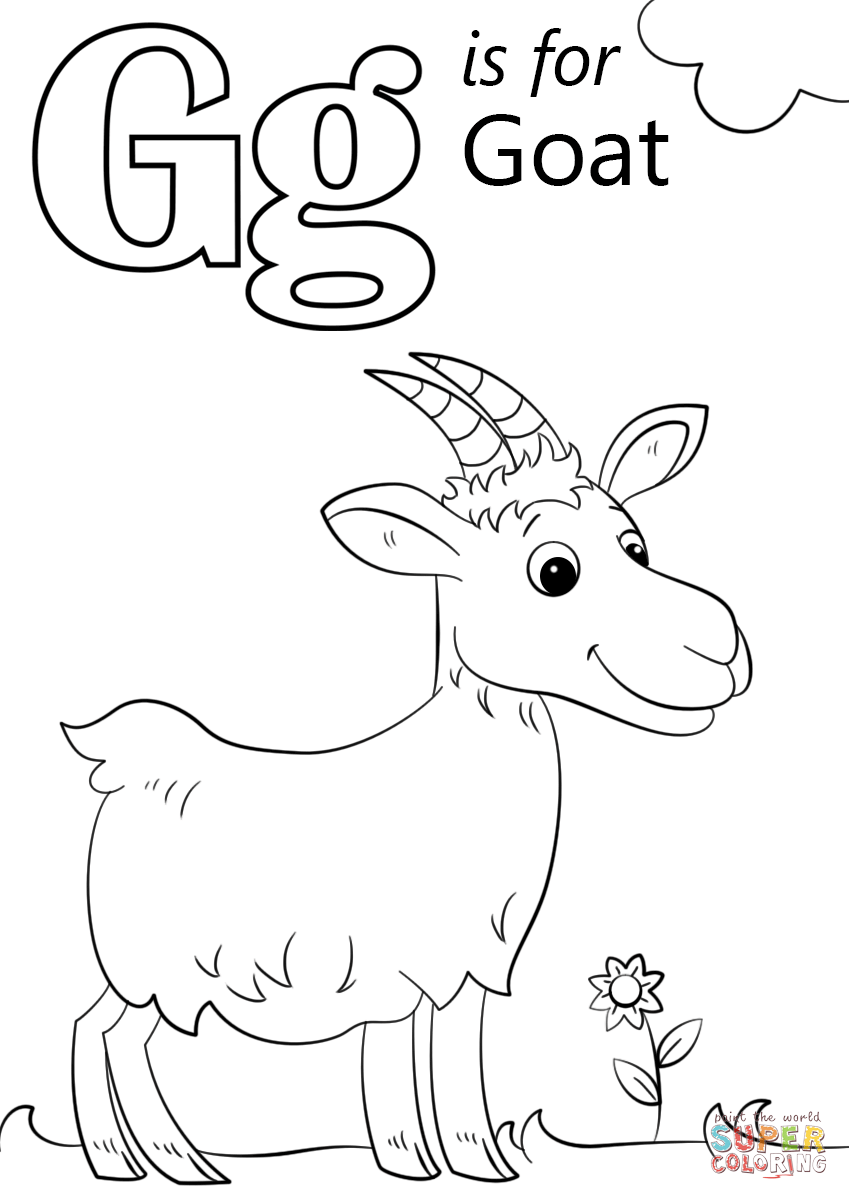 Letter G Is For Goat Coloring Page