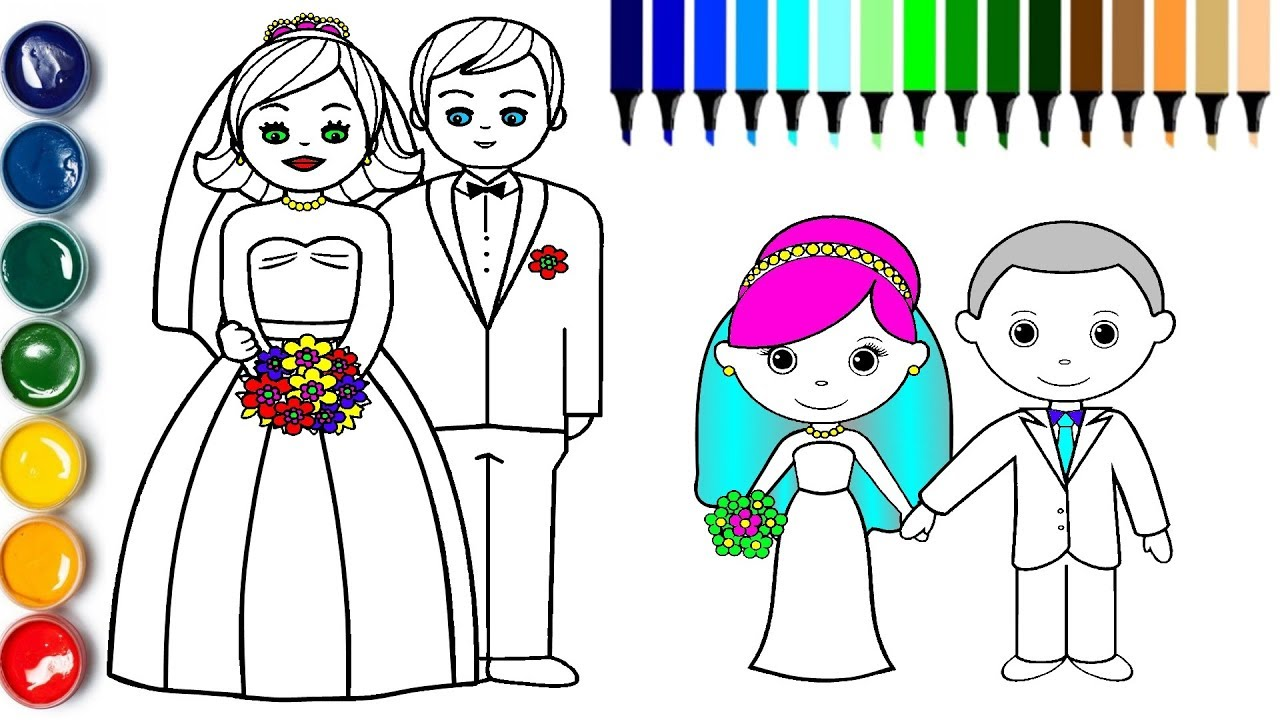 Little Bride And Groom Coloring Page