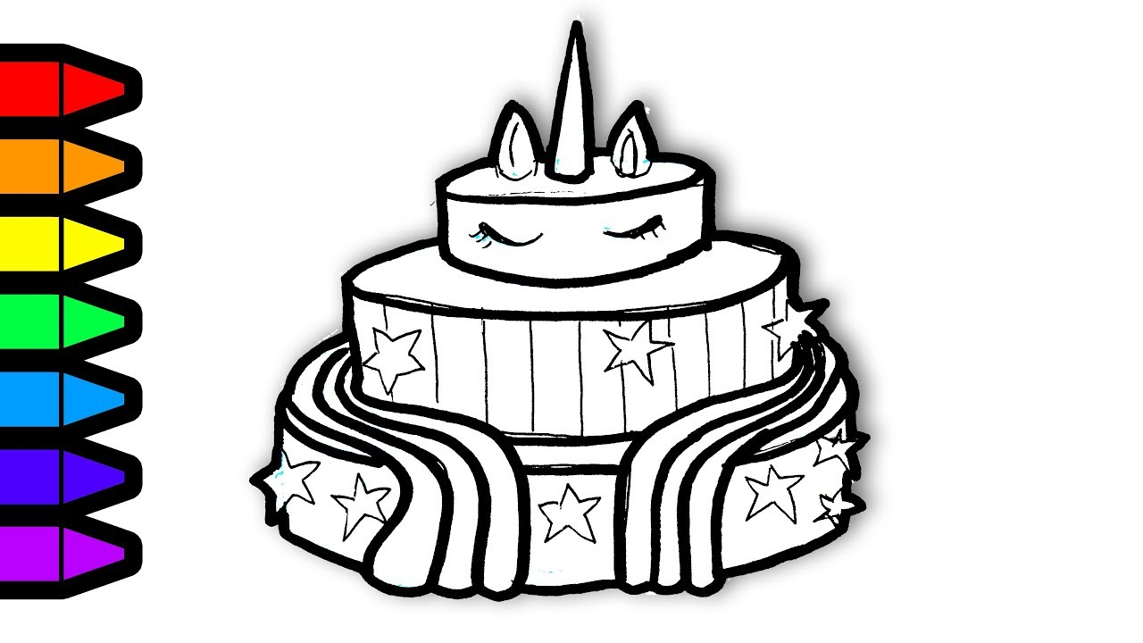 Drawing And Coloring Unicorn Cake Colouring Page - NEO ...